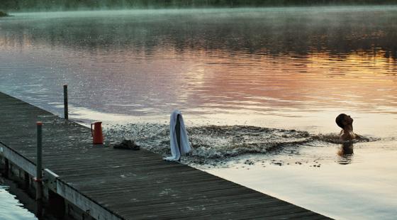 Person som badar